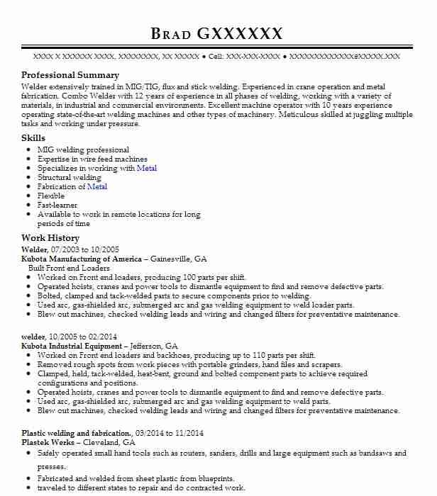 best welder resume example