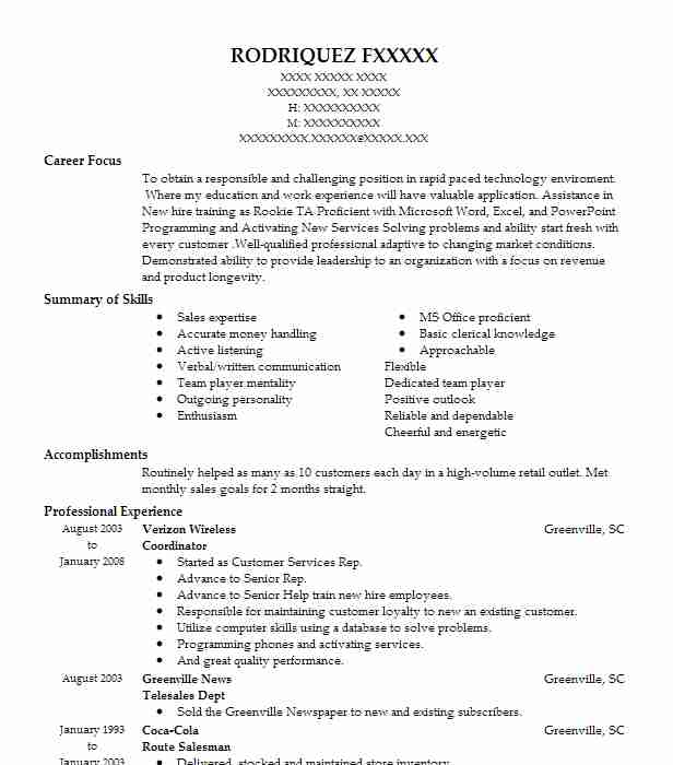 coordinator resume sample