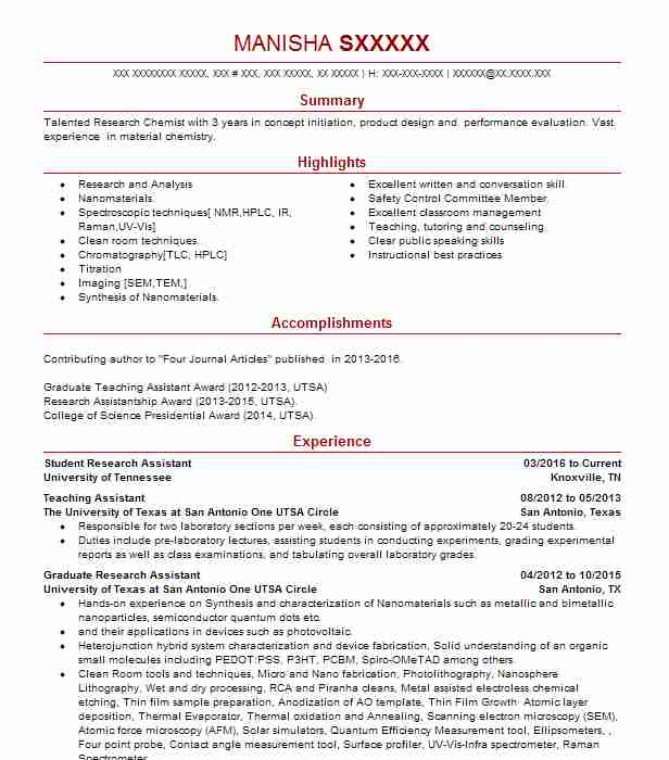 Student Research Assistant Resume Sample Livecareer