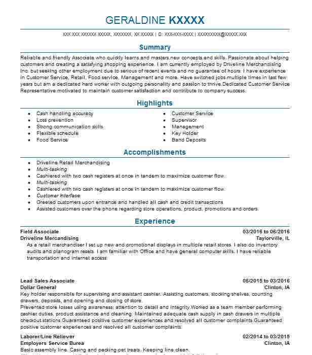 Field Associate  Customer Service Manager Resume Examples