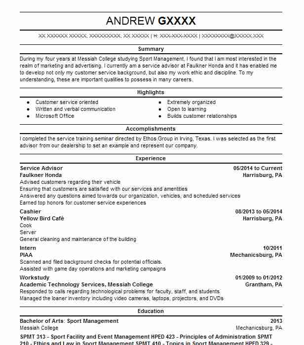service advisor resume sample