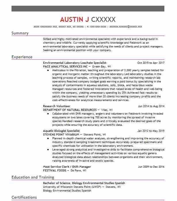sample environmental scientist resume