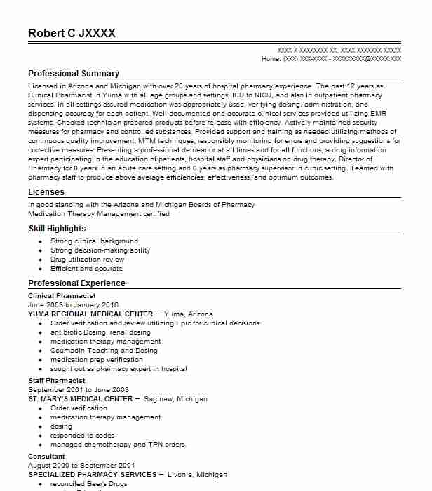 Clinical Pharmacist Resume Sample Pharmacist Resumes LiveCareer