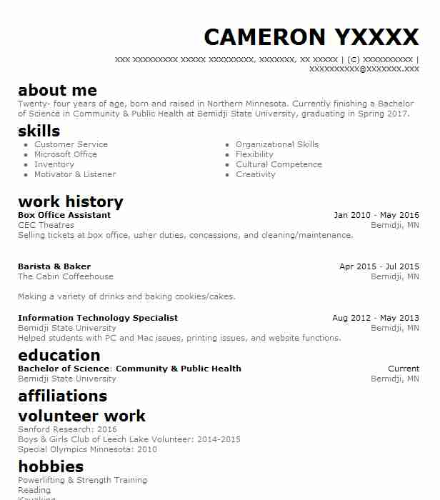 Box Office Assistant Resume Sample Resumes Livecareer