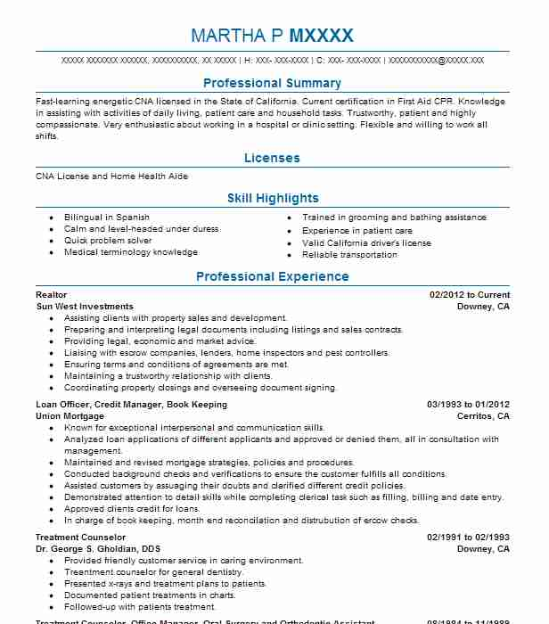2590 Home Health Aides Nursing Resume Examples In California