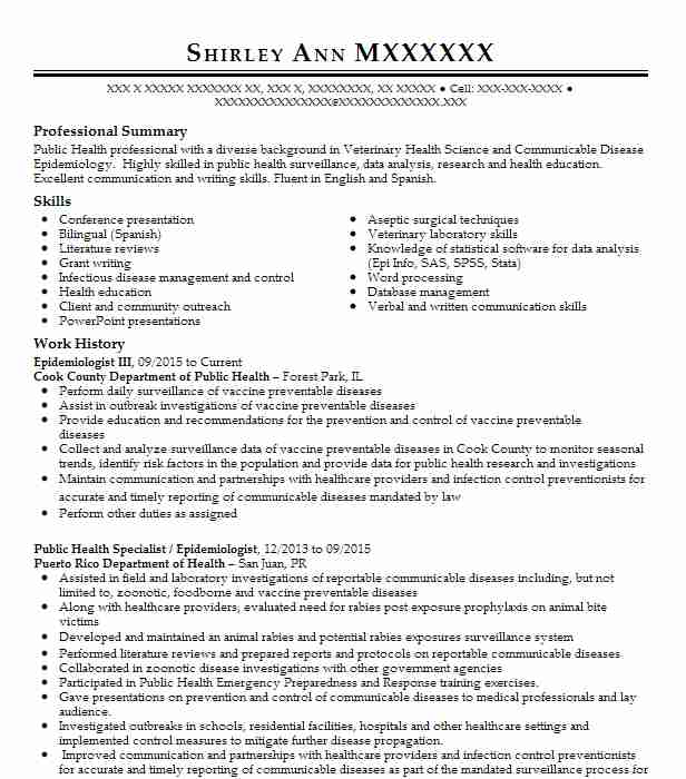 Epidemiologist Resume Example District 4 Public Health