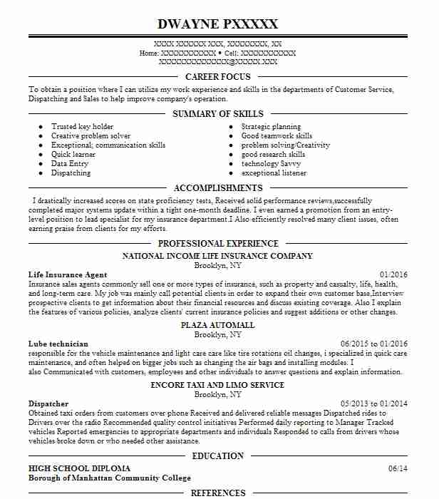 Life Insurance Agent Resume Example AMERICAN INCOME LIFE ...
