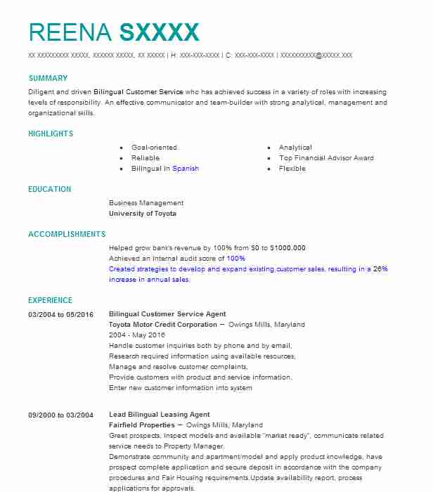 Bilingual Customer Service Agent Resume Example (Toyota Motor Credit  Corporation)   Owings Mills, Maryland