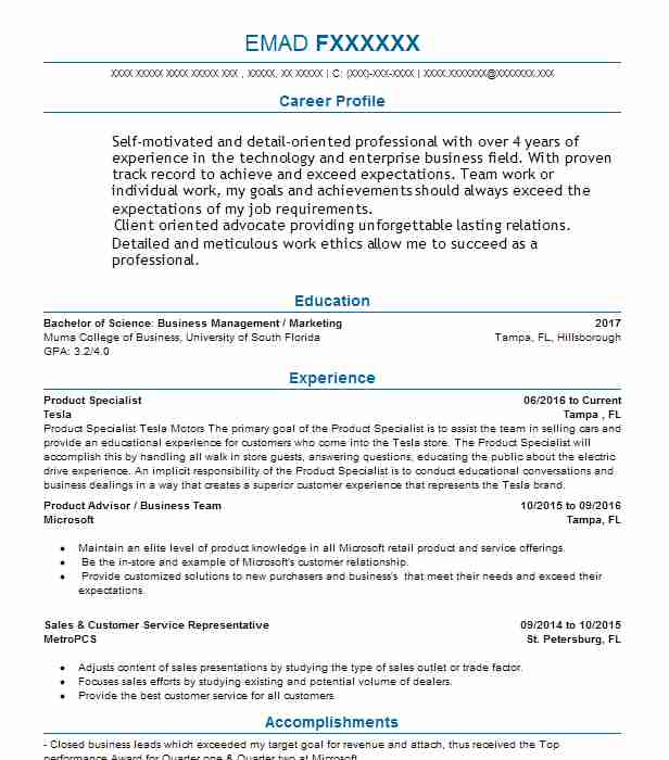Product Specialist Resume Example Tesla Tampa Florida