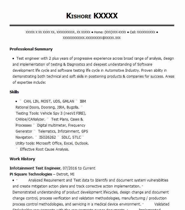 Infotainment Test Engineer Resume Example Fca Southfield
