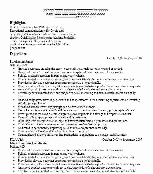 Purchasing Agent Resume Sample | Agent Resumes | LiveCareer