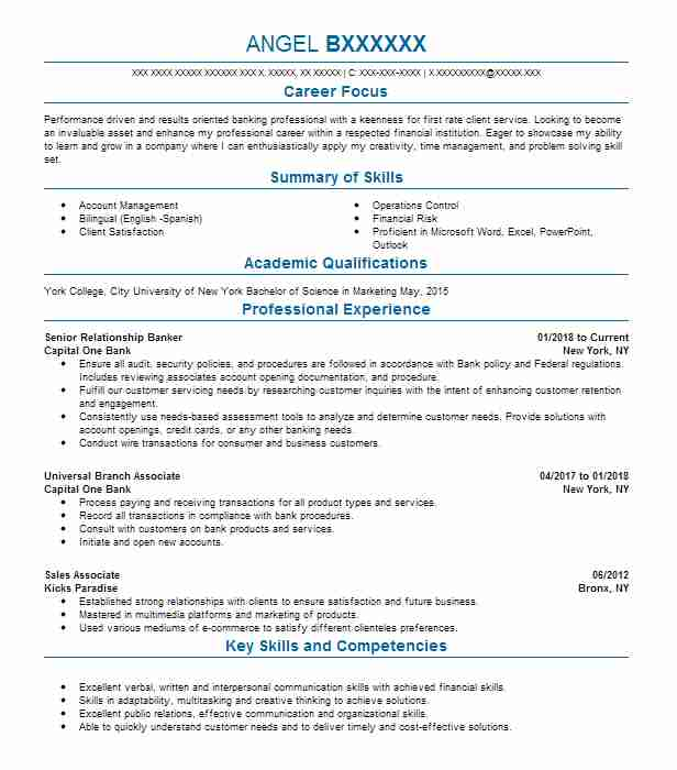 banker resume sample