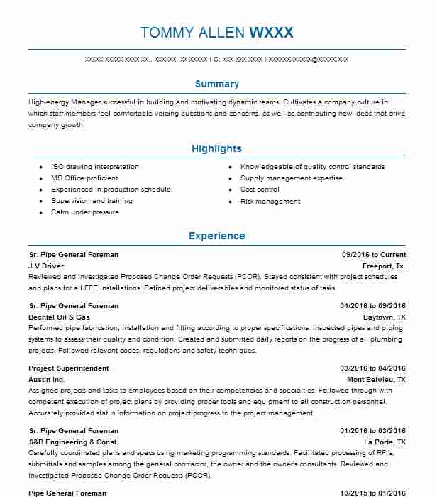 Pipe General Foreman Resume Example Sundt Construction