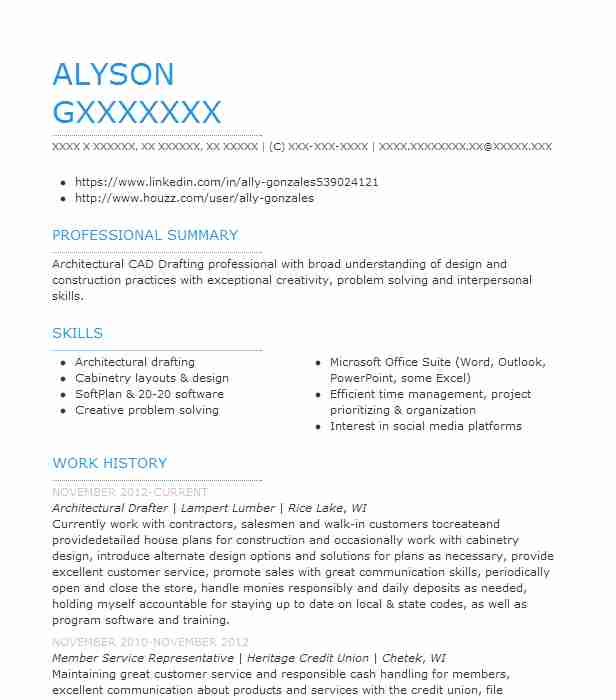 Architectural Drafter Resume Sample Drafter Resumes Livecareer
