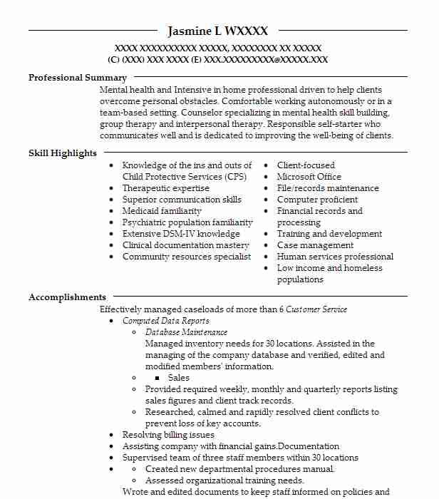 Intensive In Home Counselor Resume Example Youth Development ...