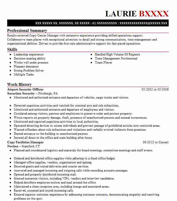 Airport Security Officer Resume Sample Officer Resumes