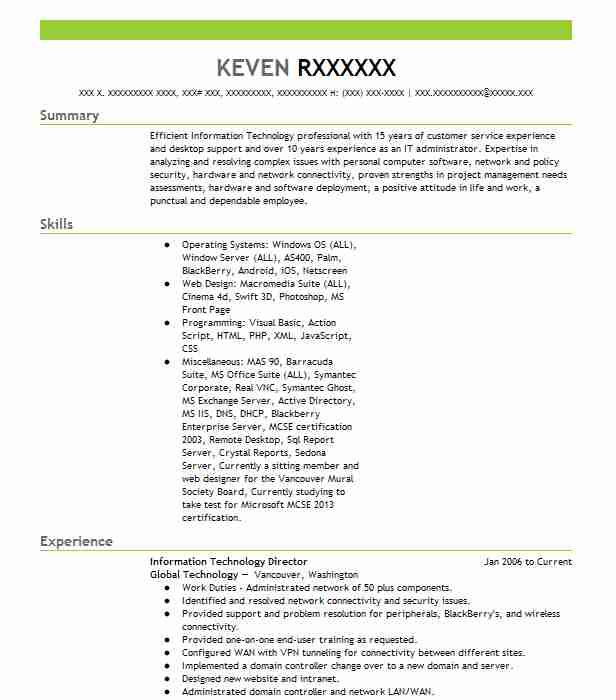 399 It Management Resume Examples In Washington Livecareer