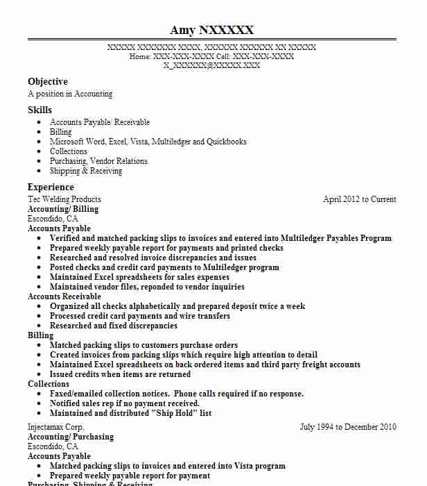 3 accounts payable receivable resume examples in valley center ca