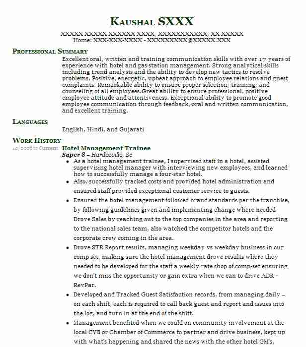 Hotel Management Trainee Resume Sample
