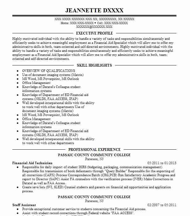 financial aid technician resume example california state
