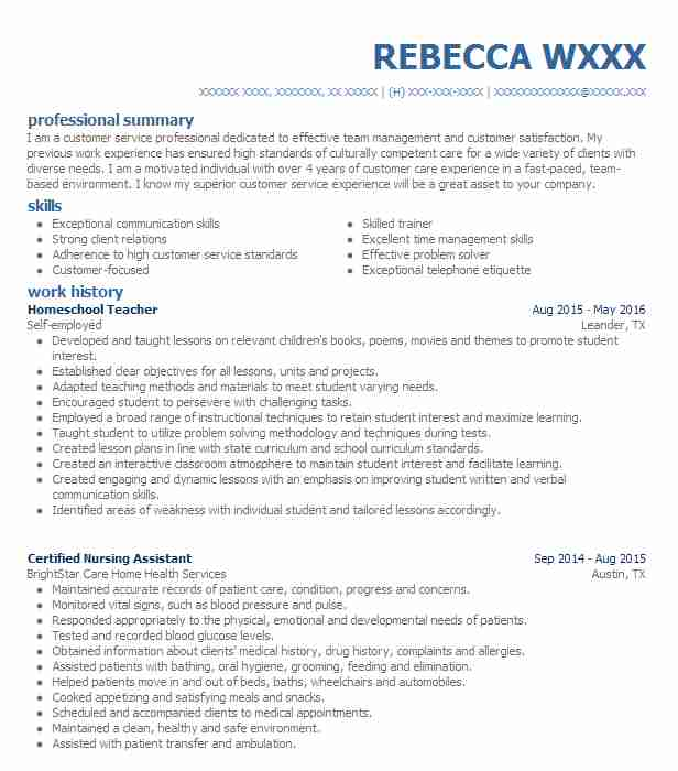 Homeschool Teacher Resume Sample | Teacher Resumes | LiveCareer