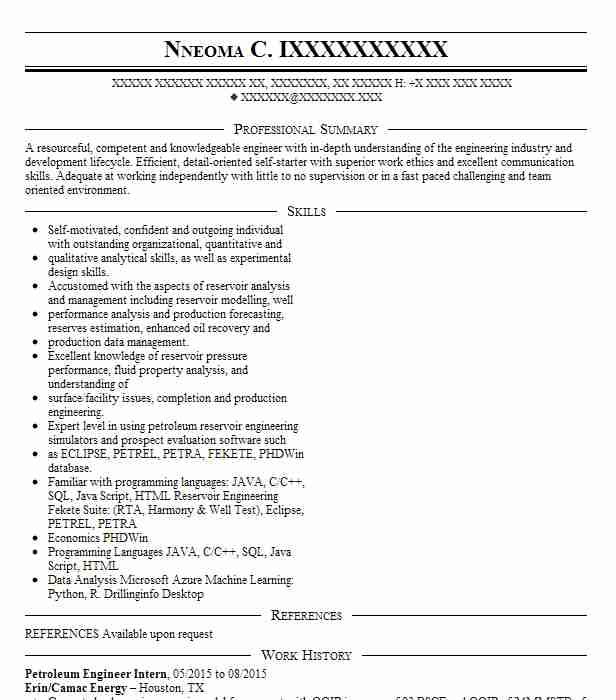 petroleum engineering intern resume example chevron