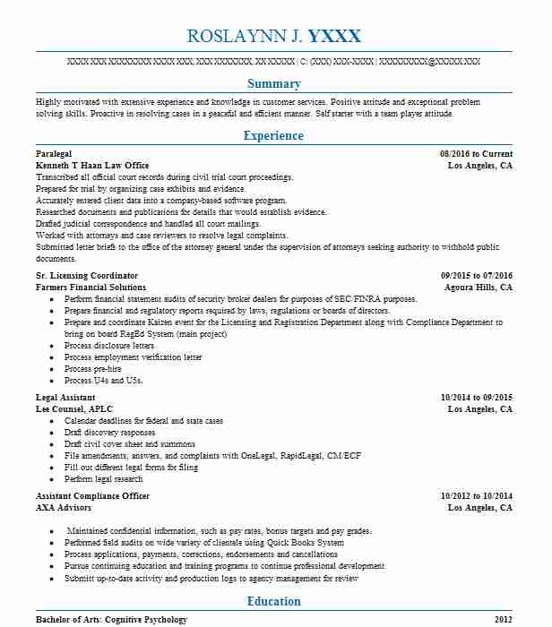 Paralegal  Resume Example For Receptionist