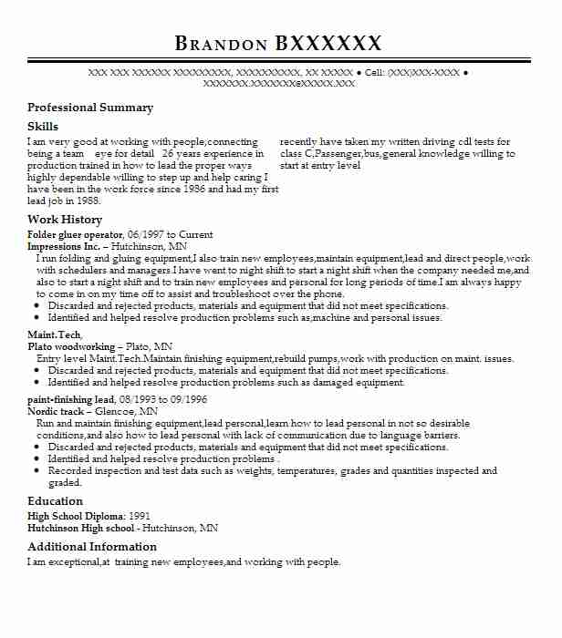 26 manufacturing and production resume examples in hutchinson mn - Appointment Setter Resume