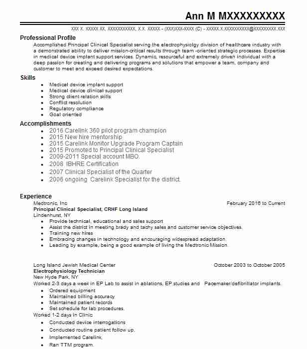 Principal Clinical Specialist Crhf Long Island Resume Example