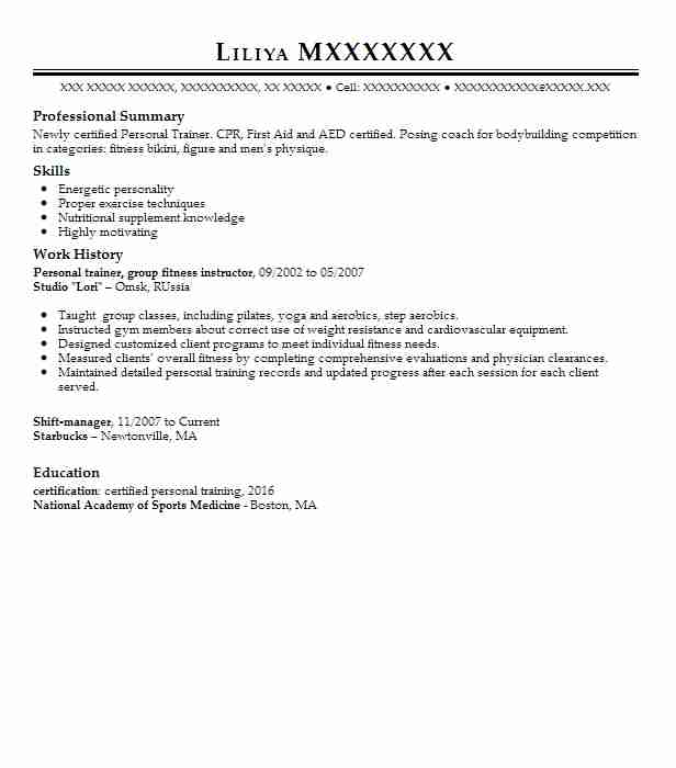 Personal Trainer Group Fitness Instructor Resume Example Studio