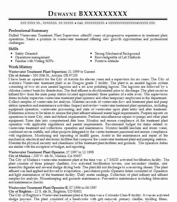 wastewater treatment plant operator resume example forrest city water and utility