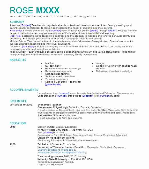 economics teacher resume sample