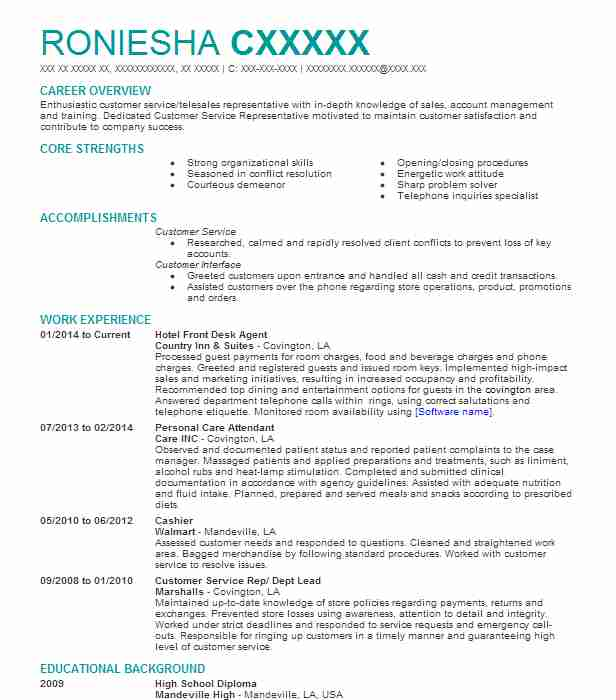 hotel front desk agent resume sample