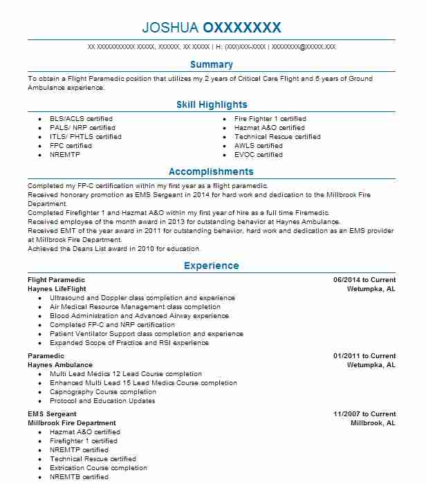 Flight Paramedic Resume Example Haynes Lifeflight Elmore Alabama