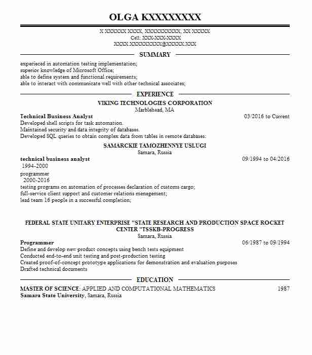 Technical Business Analyst Resume Sample