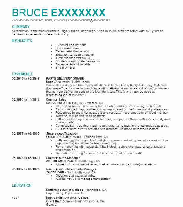 Parts Delivery Driver Resume Sample Driver Resumes