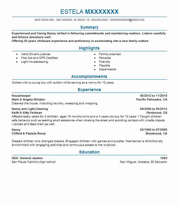 best housekeeper resume example