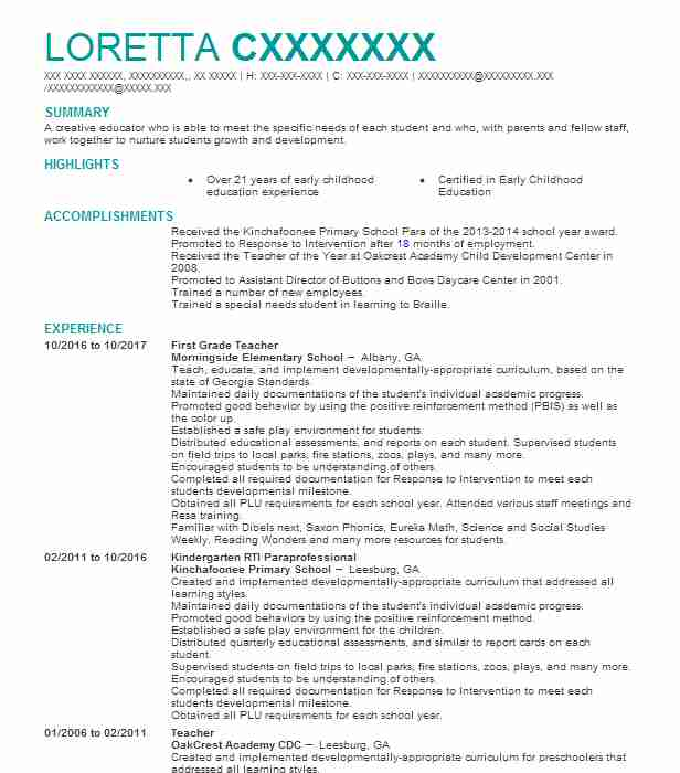 first grade teacher resume sample