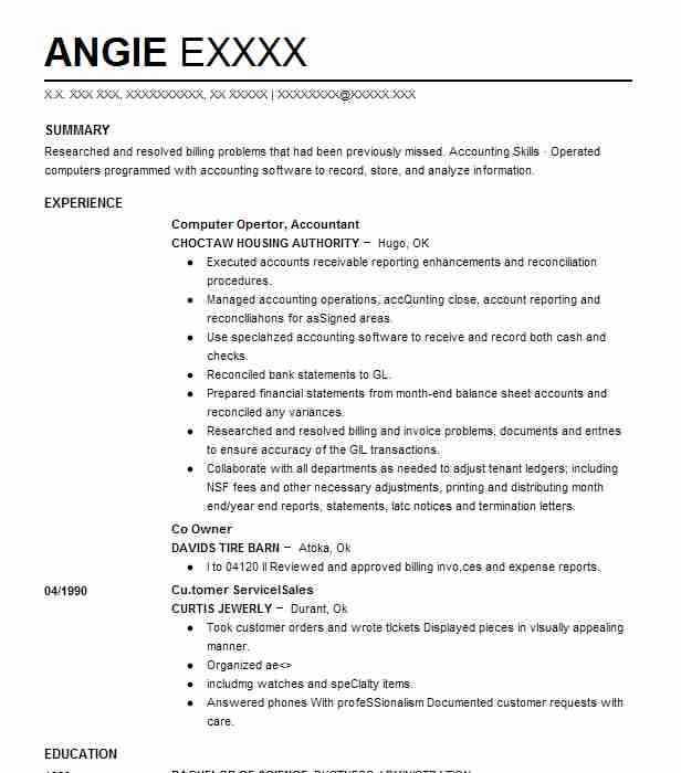 1092 Accounts Payable/Receivable (Accounting And Finance) Resume ...