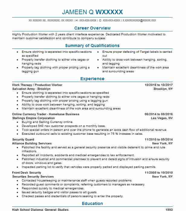 Trader Resume Samples. Foreign Exchange Trader · Work Therapy / Production  Worker