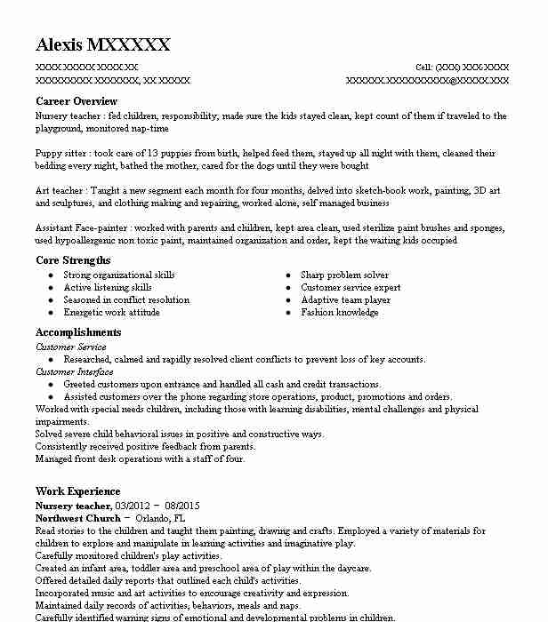 Nursery Teacher Resume Sample Resumes Misc Livecareer