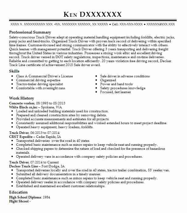 concrete worker resume sample