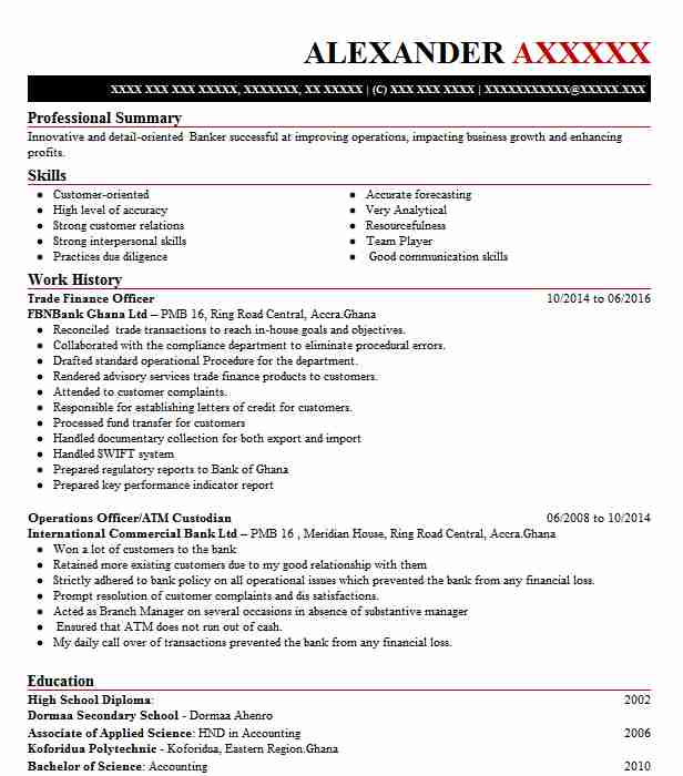 trade finance officer resume example royal bank of