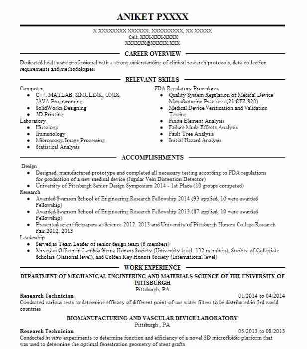 4 Resumes Matching Science Technicians Resume Samples In Lancaster  Pennsylvania Research Technician   Research Technician Resume  Research Technician Resume