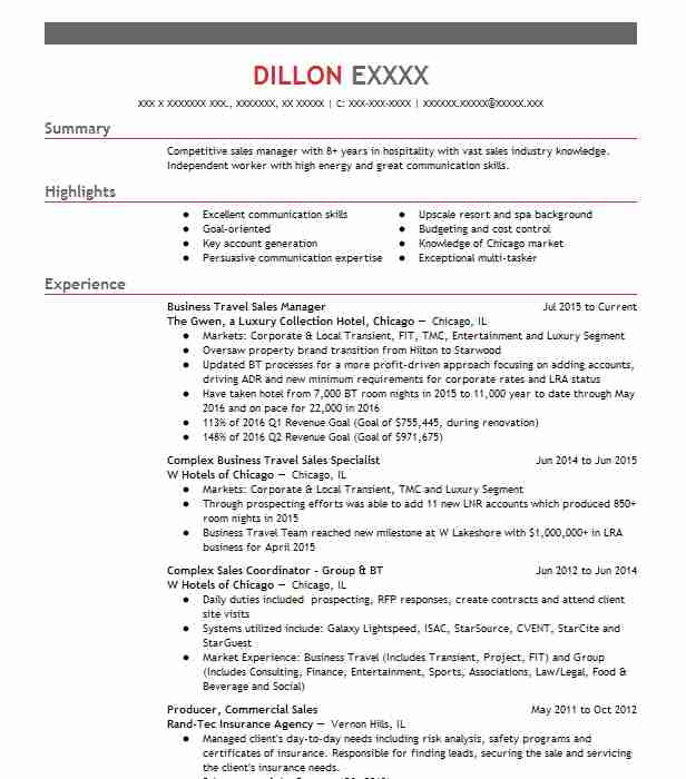 business travel sales manager resume sample