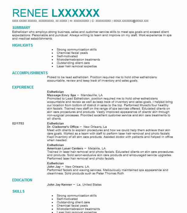 Best Esthetician Resume Example Livecareer Skills