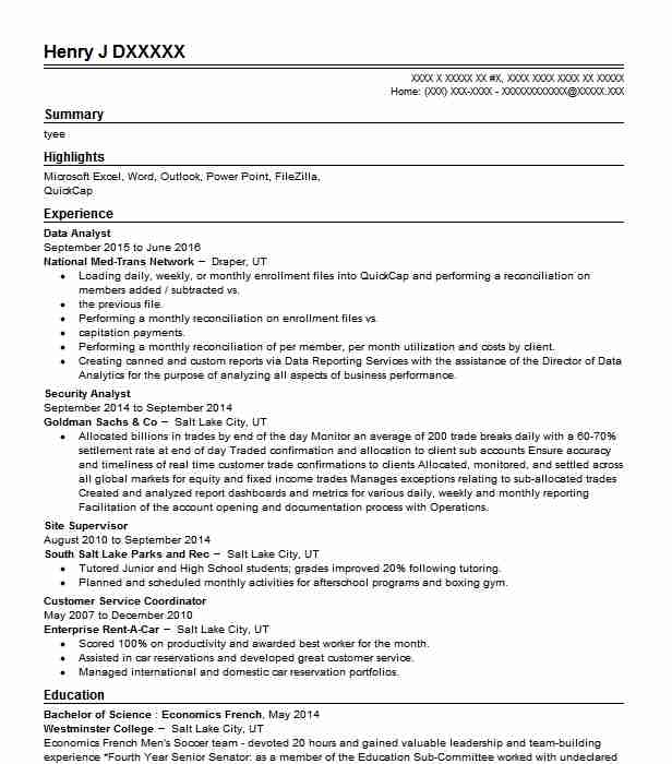 data analyst resume sample technical resumes livecareer