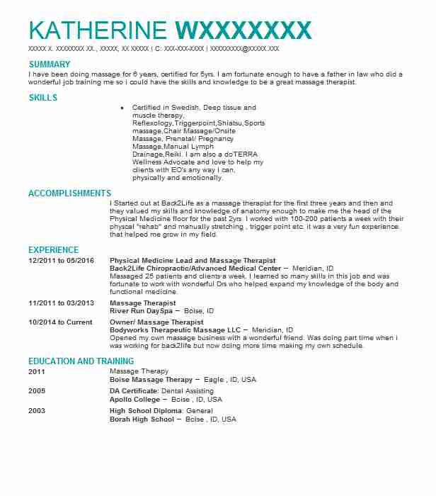 70 Massage Therapy Beauty And Spa Resume Examples In Idaho
