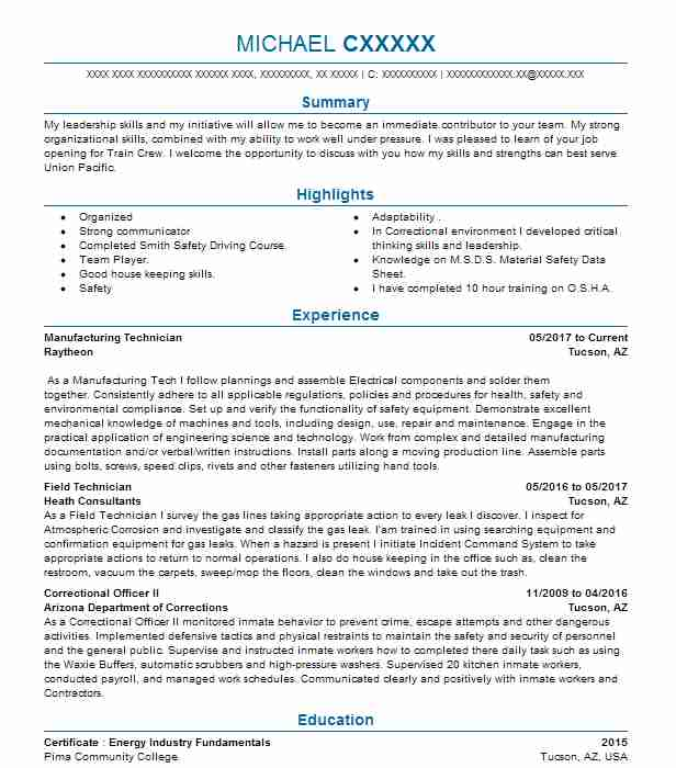 manufacturing technician resume sample