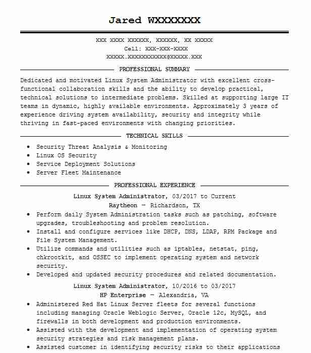 system administrator resume example service now and java